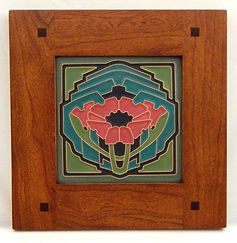 Arts and Crafts Poppy Tile Green Salmon in Morris Cherry Frame