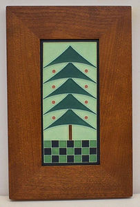 Motawi Christmas Tree Tile in Mitered Cherry Frame