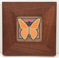 Arts and Crafts Butterfly Tile in Mitered Mahogany Frame