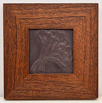 Door Pottery Gingko Tile in Mitered Mahogany Frame