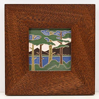 Arts and Crafts Tile Lake Tahoe Pines in Mitered Mahogany Frame