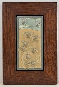 Medicine  Bluff Baby Turtles Tile in Mitered Oak Frame