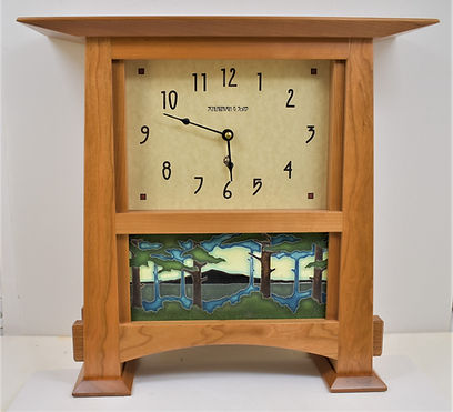 Schlabaugh Horizon Clock with Motawi Pine Landscape Tile Cherry