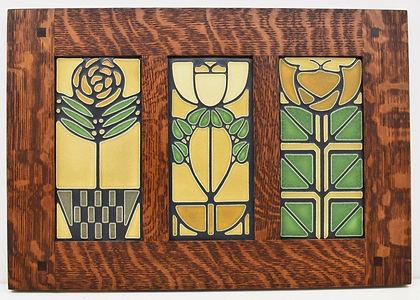 Motawi Tiles in Morris Oak Frame Checkerpot Rose Little Journeys Bellflower