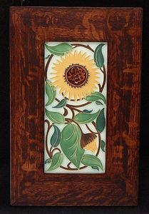 Motawi Sunflower Tile in Mitered Oak Frame