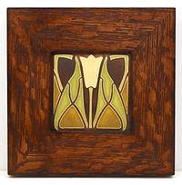 Motawi Lotus Tile in Mitered Oak Frame