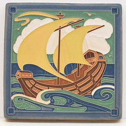 Arts and Crafts Tile Galleon Caribbean