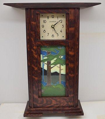 Motawi Pine Landscape Tile in Prairie Schlabaugh Clock