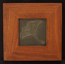 Door Pottery Gingko Tile in Mitered Cherry Frame