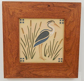 Arts and Crafts Heron Tile in Mitered Cherry Frame