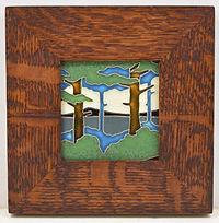 Motawi Pine Landscape Tile in Mitered Oak Frame