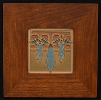 Arts and Crafts Sweet Pea Tile in Mitered Cherry Frame