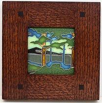 Framed Motawi Pine Landscape Tile