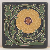 arts and crafts tile tudor rose tile flower tile decorative