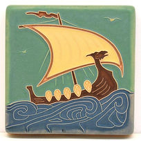 Arts and Crafts Tile Viking Ship Day