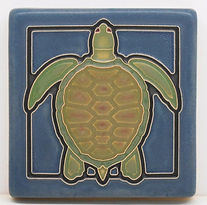 Arts and Crafts Tile Turtle Blue