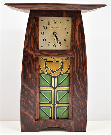 Schlabaugh Arts and Crafts Clock with Motawi Little Journeys Tile