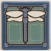 Arts and Crafts Tile Dragonfly Agave Blue