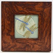 Medicine Bluff Dragonflies Tile in Mitered Oak Frame