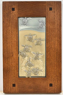 Medicine Bluff Baby Turtles Tiles in Morris Cherry Frame