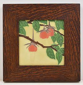 Motawi Fuchsia Tile in Mitered Oak Frame