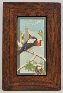 Medicine Bluff Chickadee Tile in Mitered Oak Frame