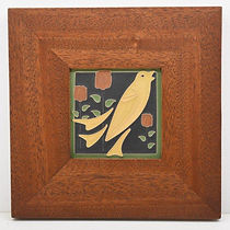 Arts and Crafts Blackbird Tile in Mitered Mahogany Frame