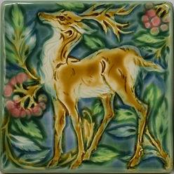 Verdant Medieval Deer Facing Left Arts and Crafts Tile