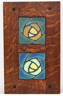 Motawi Dard Hunter Rose Tiles in Morris Oak Frame