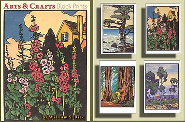 Arts and Crafts Block Prints Notecards by William S. Rice