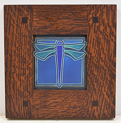 Framed Dragonfly Tile Turquoise Oak Frame