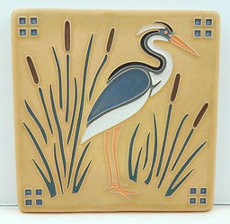 Arts and Crafts Tile Heron Sand