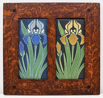 Motawi Iris Tiles in Morris Oak Frame