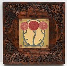 Arts and Crafts Macintosh Rose Tile in Carved Mitered Oak Frame