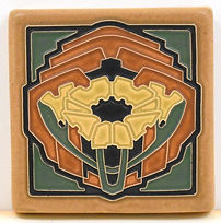 Arts and Crafts Tile Poppy Daffodil