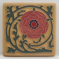 Arts and Crafts Tile Tudor Rose Coral