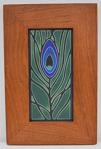 Motawi Feather Tile in Mitered Cherry Frame
