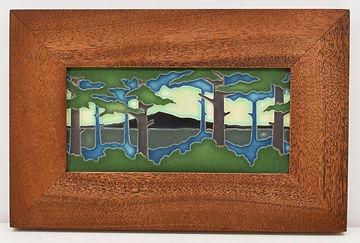 Motawi Pine Landscape Tile in Mitered Mahogany Tile