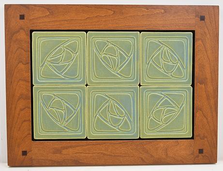 Dard Hunter Rose Distintive American Art Tiles in Morris Cherry Frame