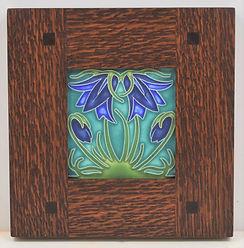 Motawi Ladybell Tile Turquoise in Morris Oak Frame
