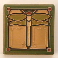 Arts and Crafts Tile Dragonfly Sage