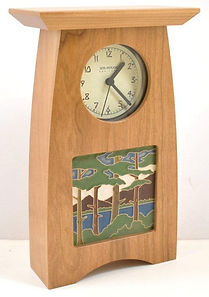 Schlabaugh Arts and Crafts Clock with choice of tile Cherry