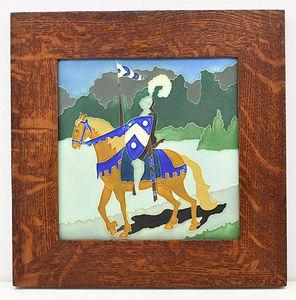 Motawi Knight Tile in Mitered Oak Frame Arts and Crafts Tile