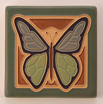 Arts and Crafts Tile Butterfly Blue Green