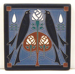 Arts and Crafts Tile Songbirds Sky Blue