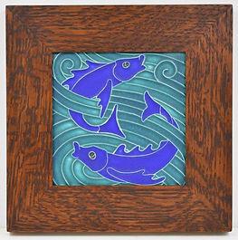 Motawi Fish Tile in Mitered Oak Frame