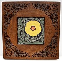 Arts and Crafts Tudor Rose Tile in Carved Mitered Cherry Frame