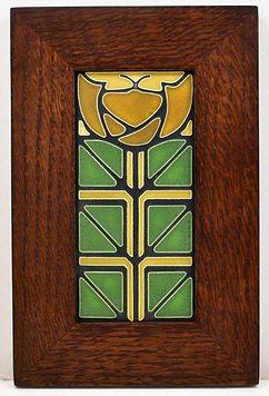 Motawi Little Journeys Tile in Mitered Oak Frame Green Oak