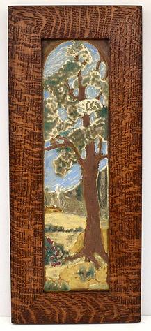 JMJ Bungalow Tree Arts and Crafts Tile in Mitered Oak Frame