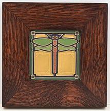 Arts and Crafts Dragonfly Tile in Mitered Oak Frame